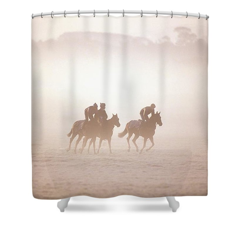 Activity Shower Curtain featuring the photograph Thoroughbred Horses In Training by The Irish Image Collection