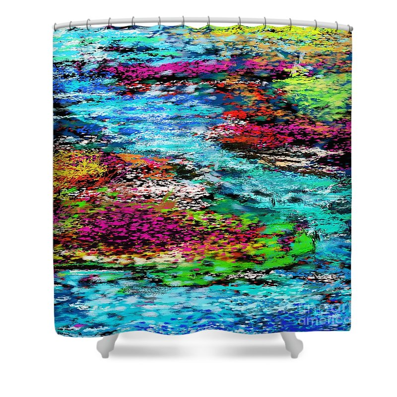 Abstract Shower Curtain featuring the digital art Thought Upon A Stream by David Lane