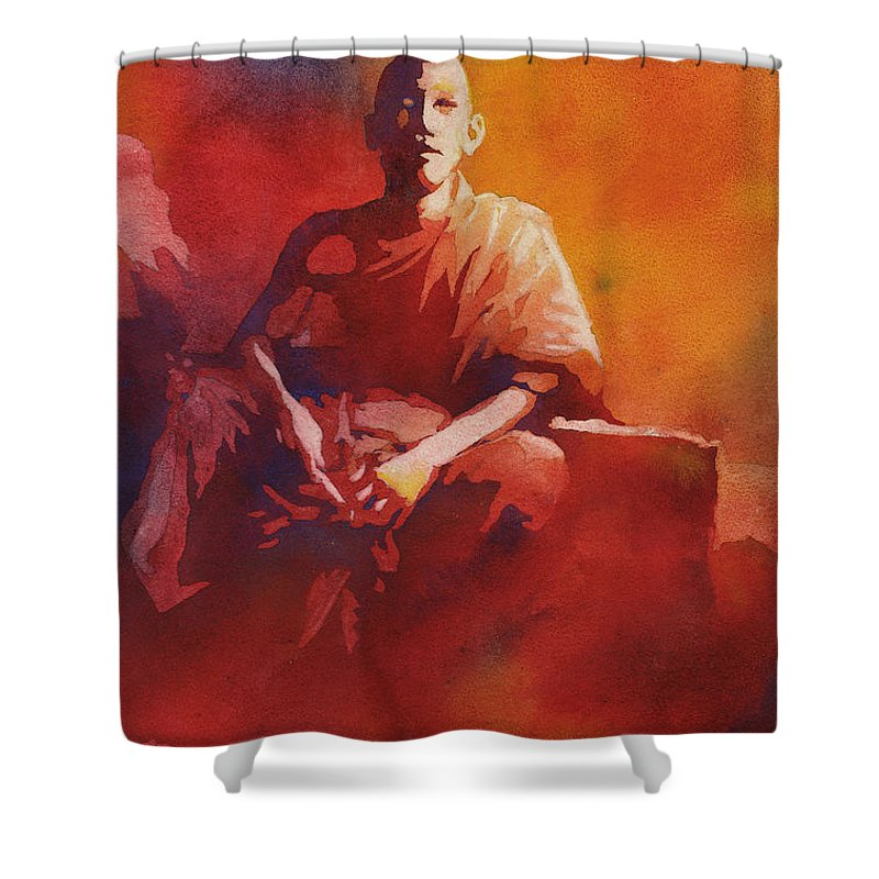Art Prints Shower Curtain featuring the painting Thoughtful Moment- Nepal by Ryan Fox