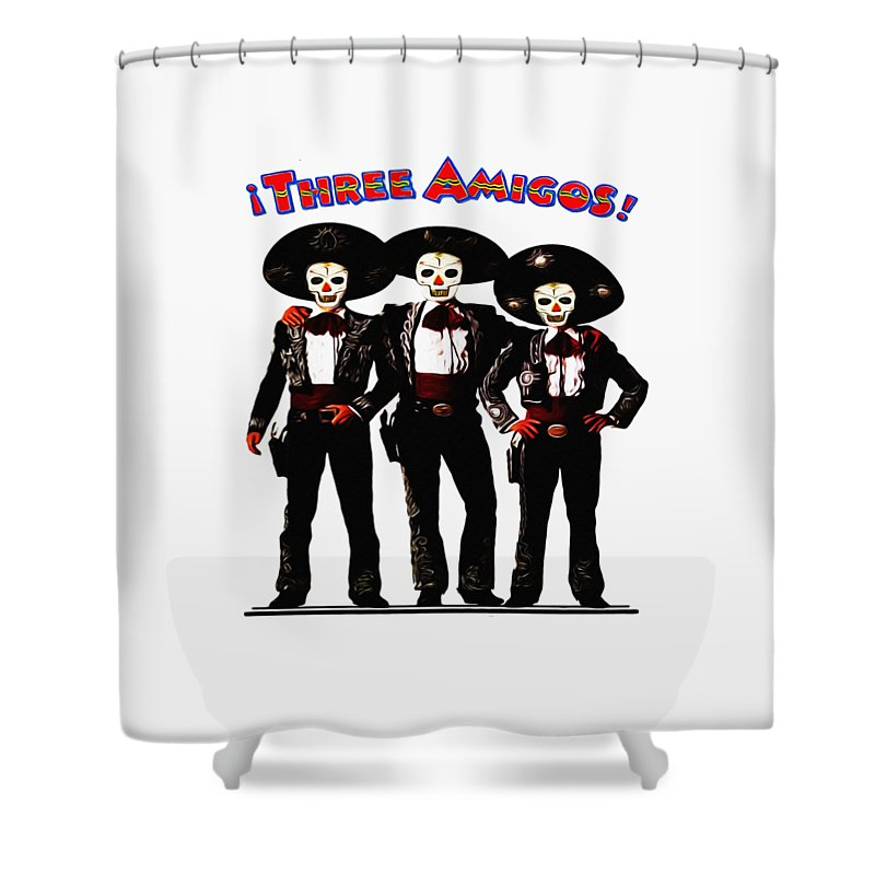 Three Shower Curtain Featuring The Photograph Amigos