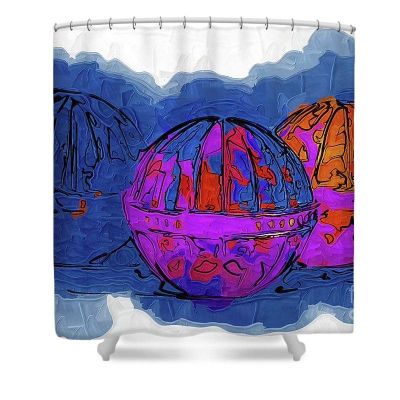 Balls Shower Curtain featuring the digital art Three Balls by Kirt Tisdale
