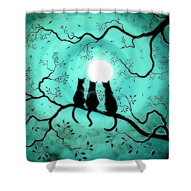 Black Shower Curtain featuring the painting Three Black Cats Under A Full Moon by Laura Iverson