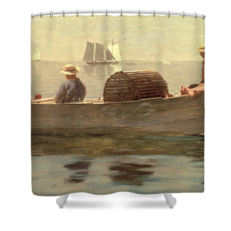 Boat Shower Curtain featuring the painting Three Boys In A Dory by Winslow Homer