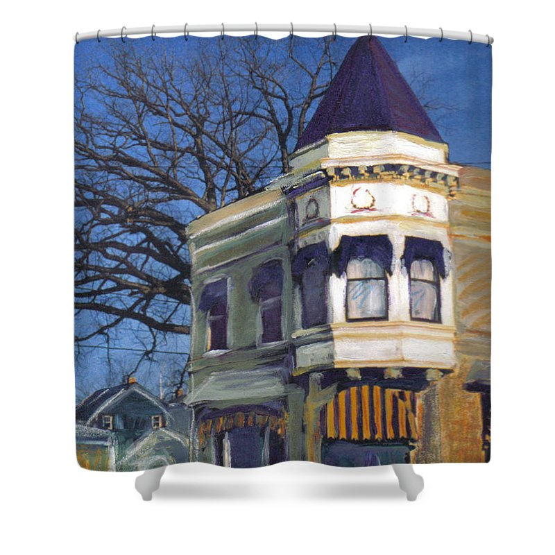 Miexed Media Shower Curtain featuring the mixed media Three Brothers by Anita Burgermeister