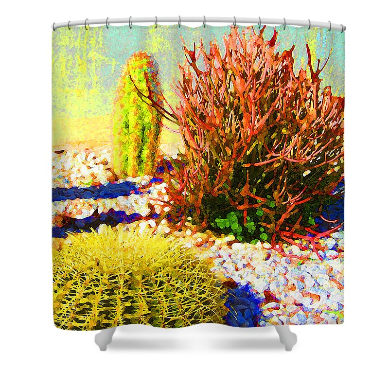 Landscape Shower Curtain featuring the painting Three Cacti by Amy Vangsgard