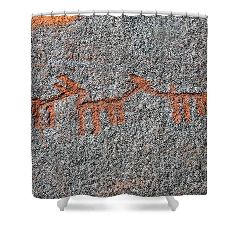 Petroglyphs Shower Curtain featuring the photograph Three Deer by David Lee Thompson