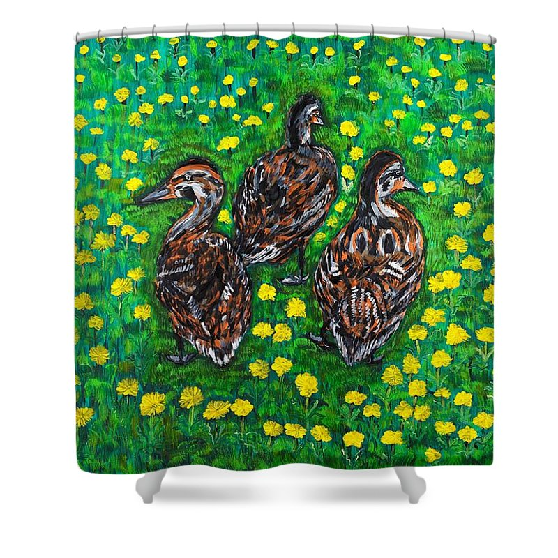 Bird Shower Curtain featuring the painting Three Ducklings by Valerie Ornstein