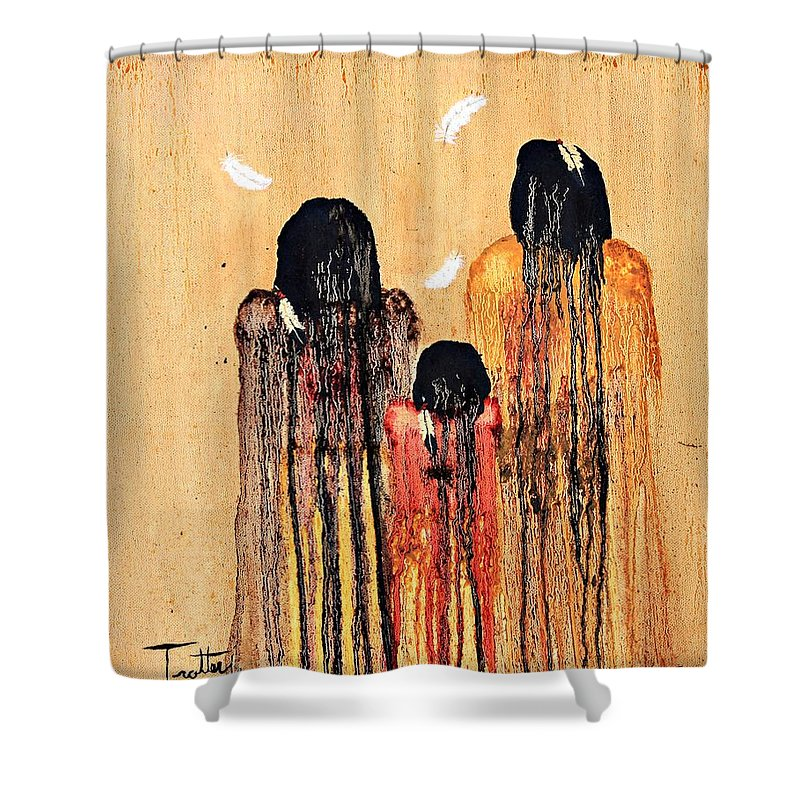 Art Shower Curtain featuring the painting Three Feathers by Patrick Trotter