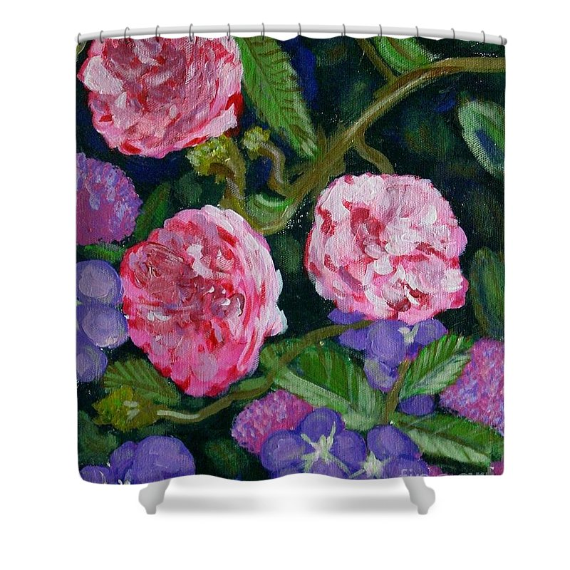 Roses Shower Curtain featuring the painting Three For The Show by Laurie Morgan