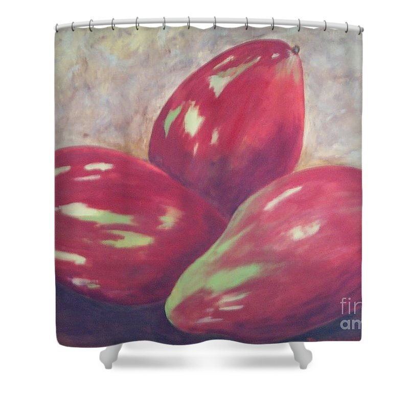 Mangos Shower Curtain featuring the painting Three Mangos by Jeanie Watson