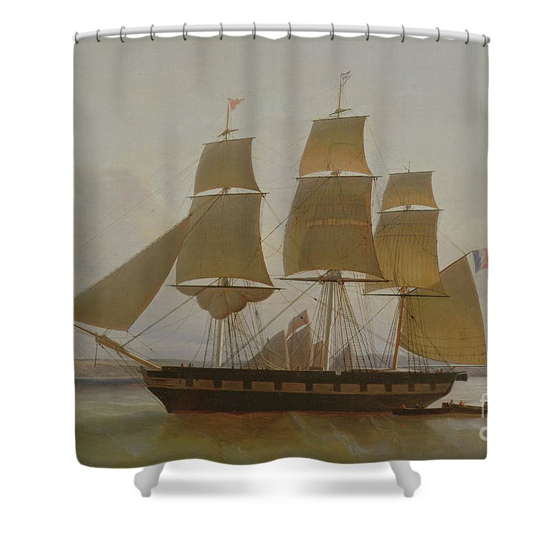 Ship Shower Curtain featuring the painting Three Masted Boat, In The Port Of Le Havre by Jean Dominique Drouin