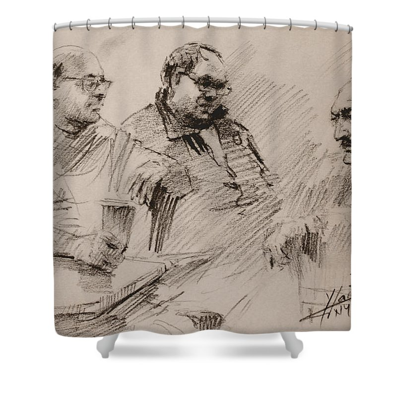 Sketch Shower Curtain featuring the drawing Three Men Chatting by Ylli Haruni