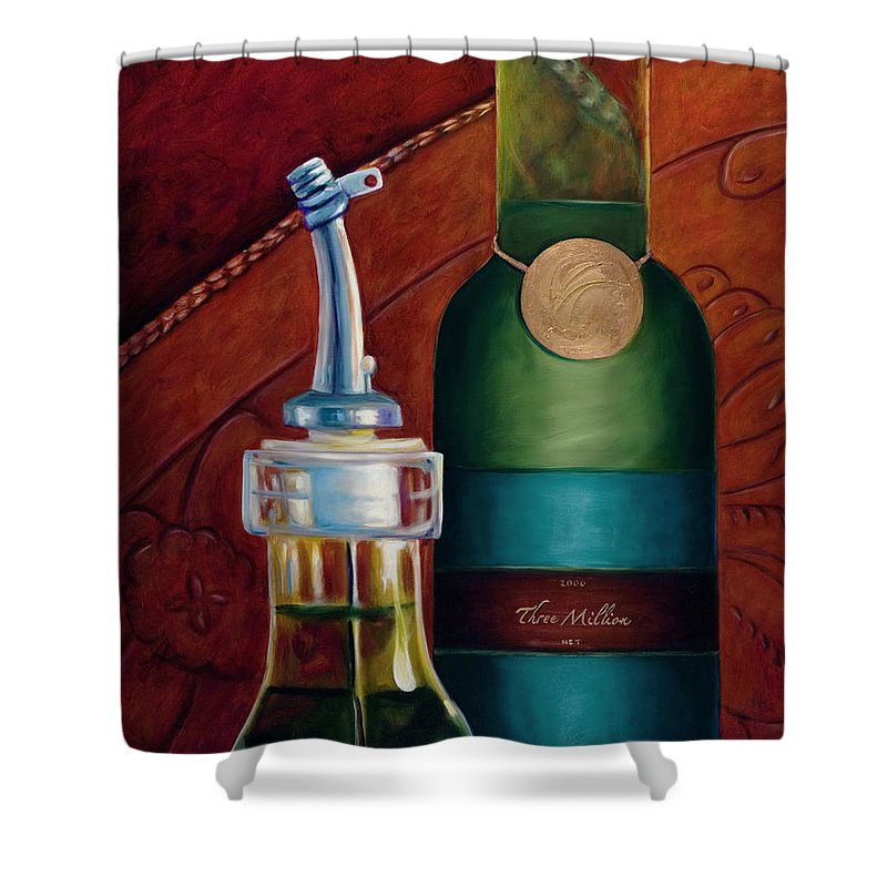 Olive Oil Shower Curtain featuring the painting Three Million Net by Shannon Grissom