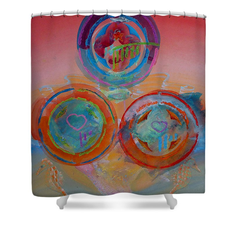 Logo Shower Curtain featuring the painting Three On Marine by Charles Stuart