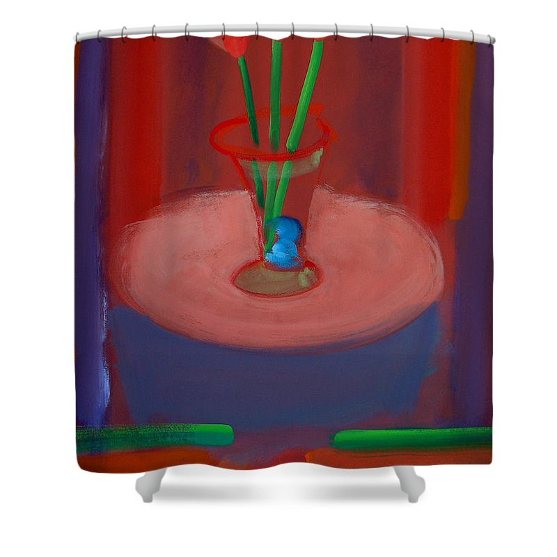 Poppies Shower Curtain featuring the painting Three Poppies In A Vase by Charles Stuart
