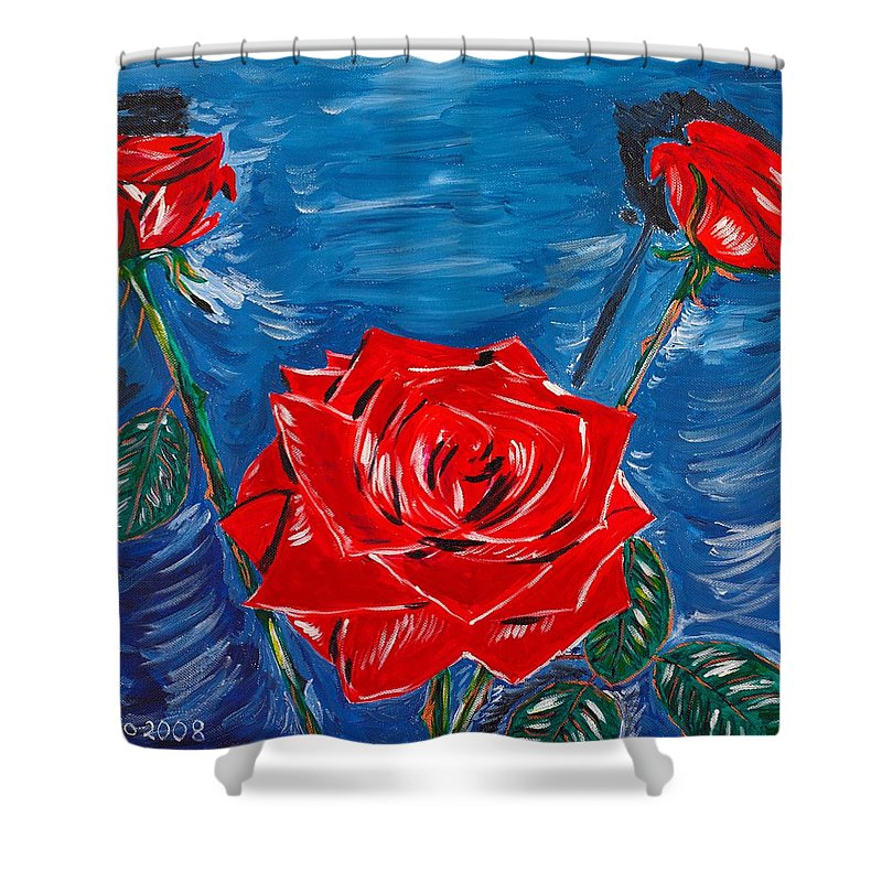 Rose Shower Curtain featuring the painting Three Red Roses Four Leaves by Valerie Ornstein