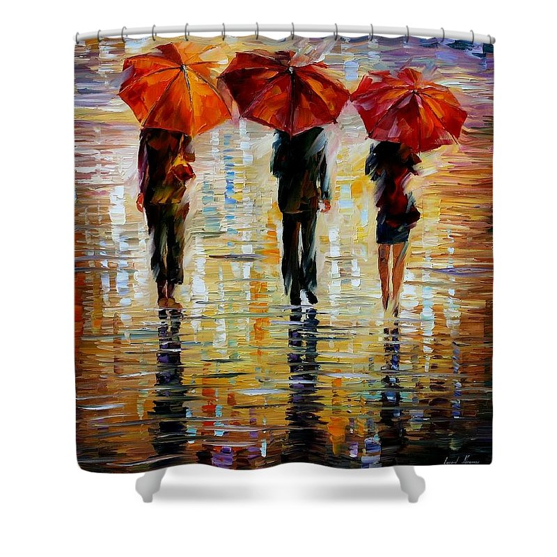 Cityscape Shower Curtain featuring the painting Three Red Umbrella by Leonid Afremov