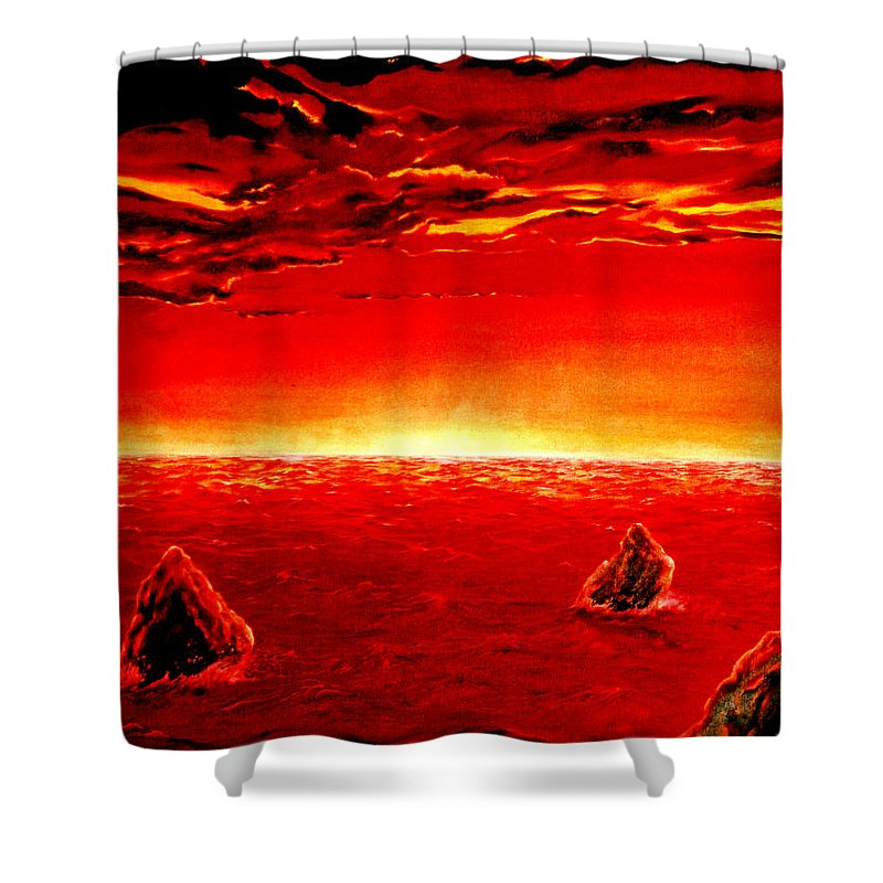Seascape Shower Curtain featuring the painting Three Rocks In Sunset by Mark Cawood