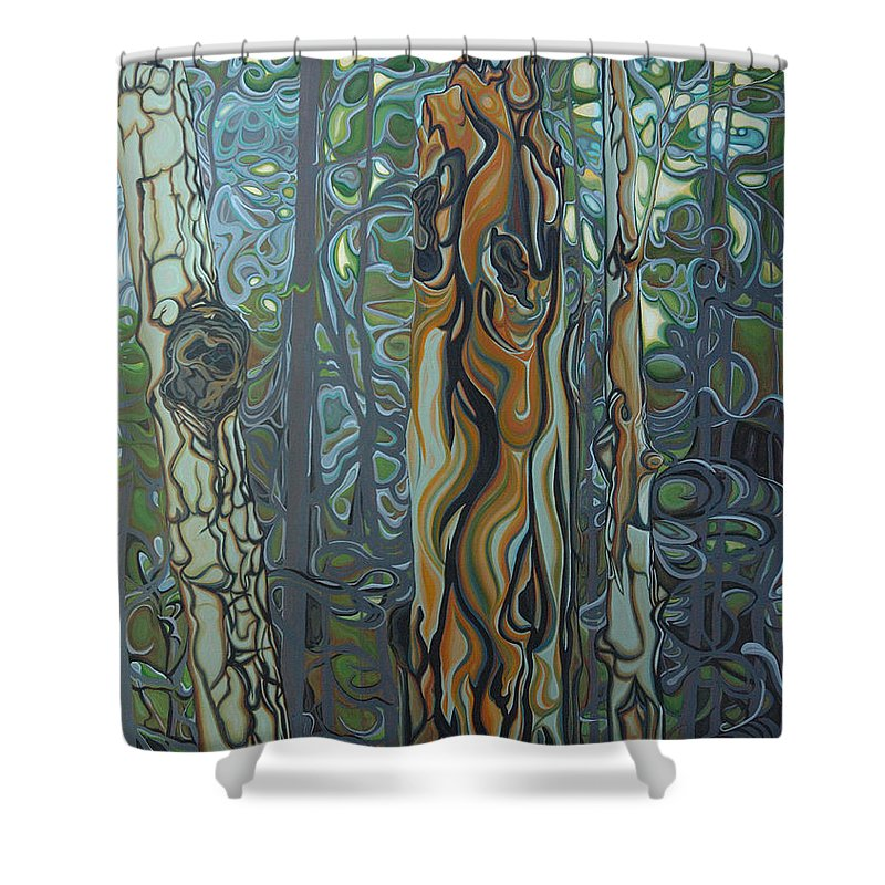 Landscape Shower Curtain featuring the painting Three Sisters by Jan Lyons
