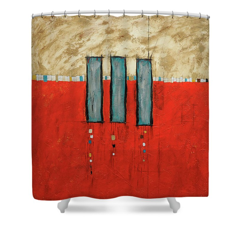 Acrylic Shower Curtain featuring the painting Three Sisters by Jim Benest