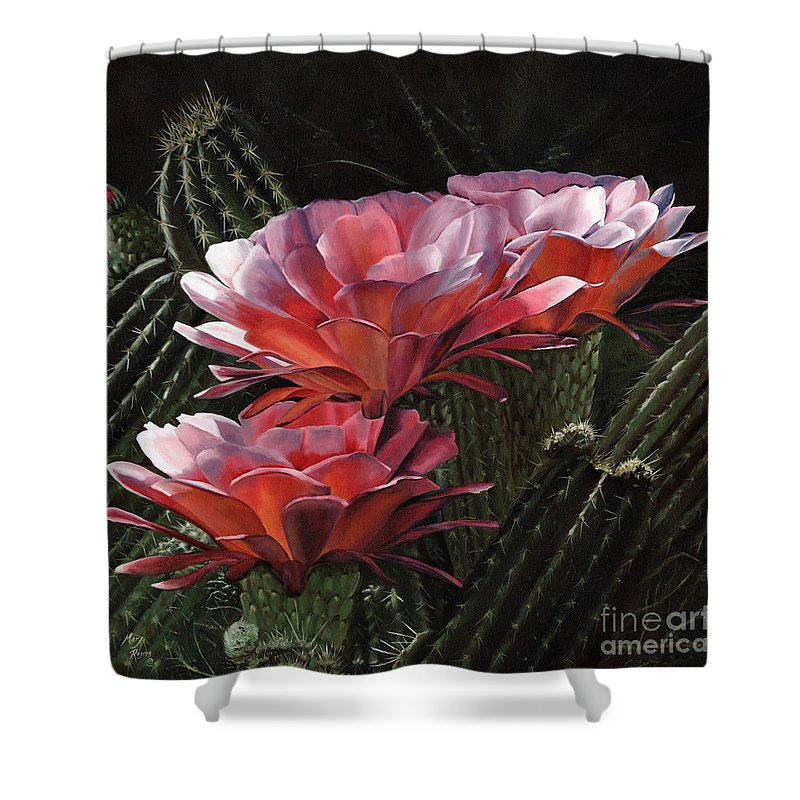 Art Shower Curtain featuring the painting Three Sisters by Mary Rogers