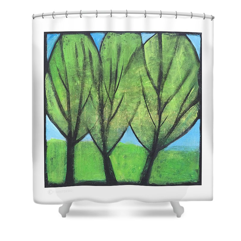 Trees Shower Curtain featuring the painting Three Sisters by Tim Nyberg
