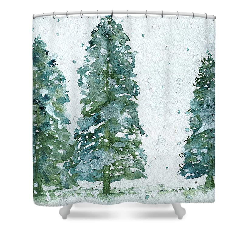 Snowy Trees Shower Curtain Featuring The Painting Three Spruce By Dawn Derman