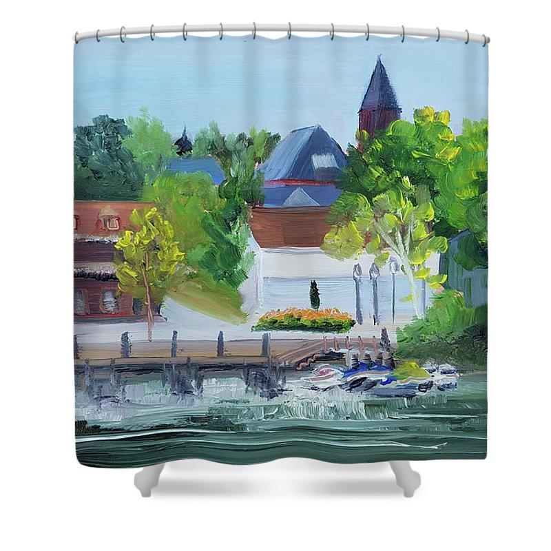 En Plein Air Shower Curtain featuring the painting Three Spires by Susan Hanna