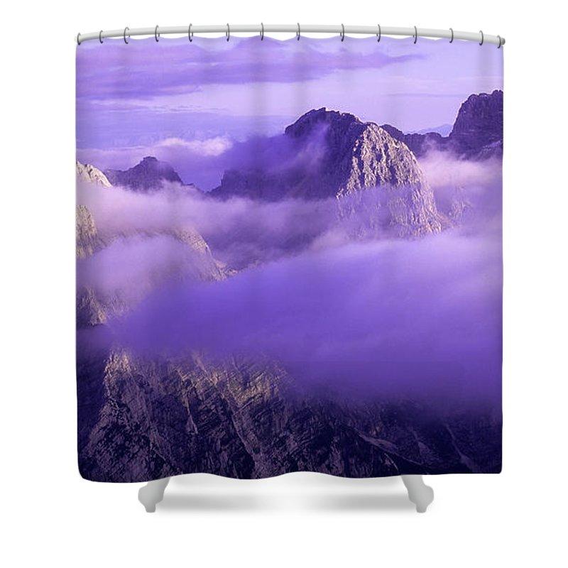 Beautiful Shower Curtain featuring the photograph Three Summits. Julian Alps by Konstantin Dikovsky