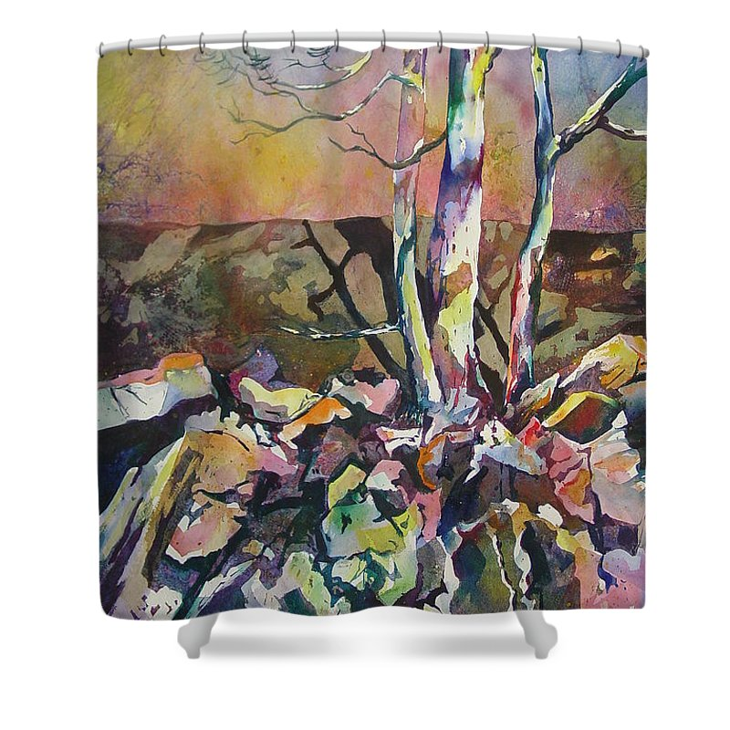 Watercolor Shower Curtain featuring the painting Three Trees by Marlene Gremillion