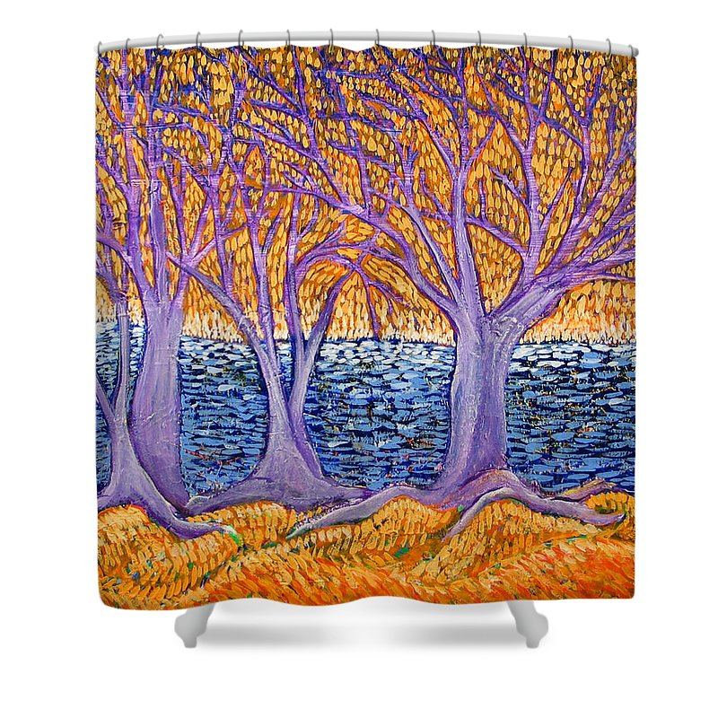 Landscape Shower Curtain featuring the painting Three Trees by Rollin Kocsis