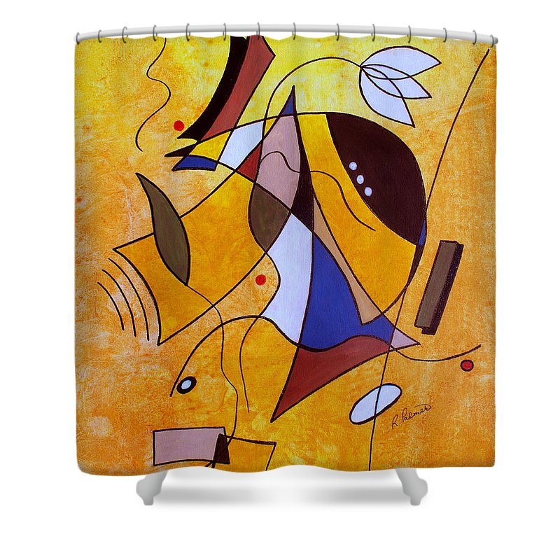 Abstract Shower Curtain featuring the painting Three White Petals by Ruth Palmer
