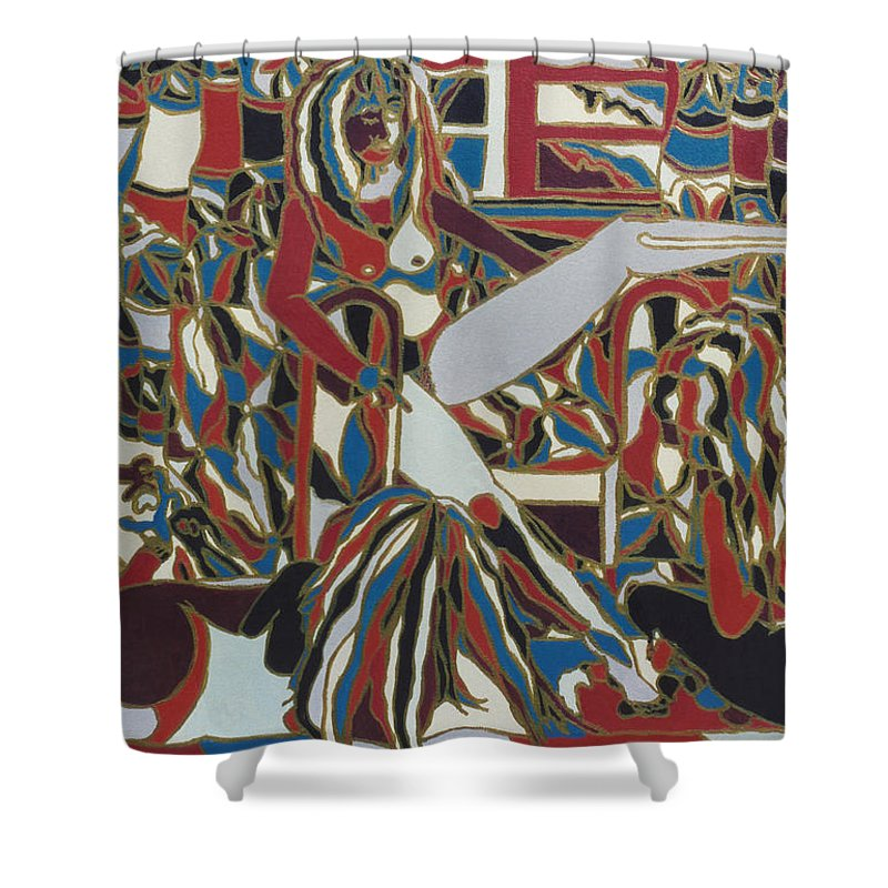 Woman Shower Curtain featuring the painting Three Women by Muniz Filho