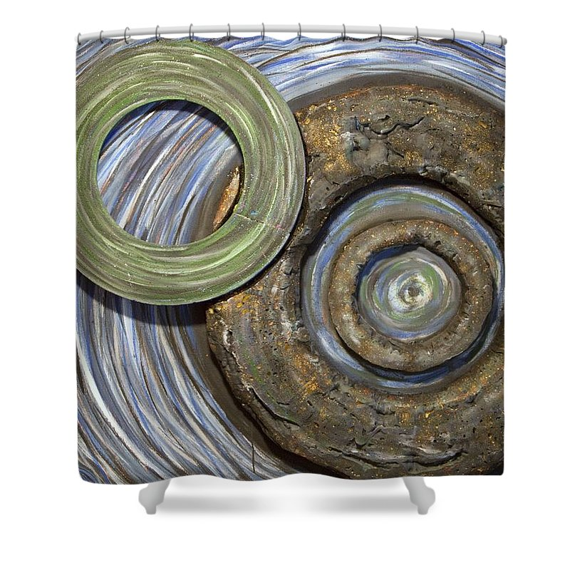 Circles Shower Curtain featuring the painting Threes A Crowd by Jacqueline Athmann