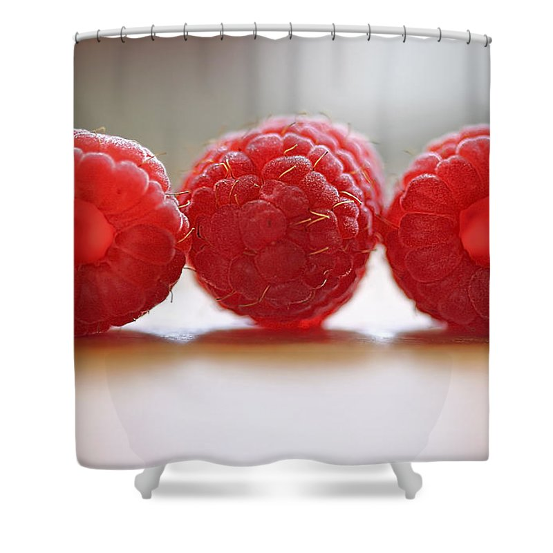 Raspberry Shower Curtain featuring the photograph Three's Company by Evelina Kremsdorf