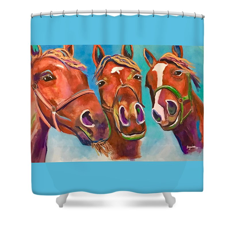 Horses Shower Curtain featuring the painting Threes Company by Suzaine Smith