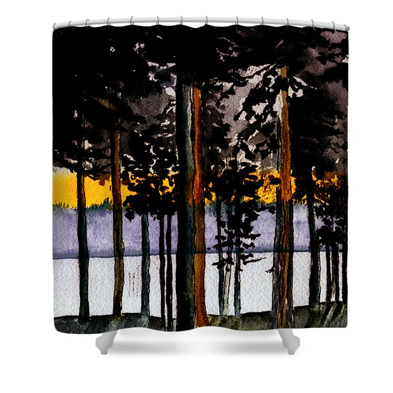 Watercolor Shower Curtain featuring the painting Through My Woods by Brenda Owen