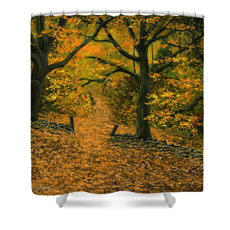 Landscape Shower Curtain featuring the painting Through The Fallen Leaves by Frank Wilson