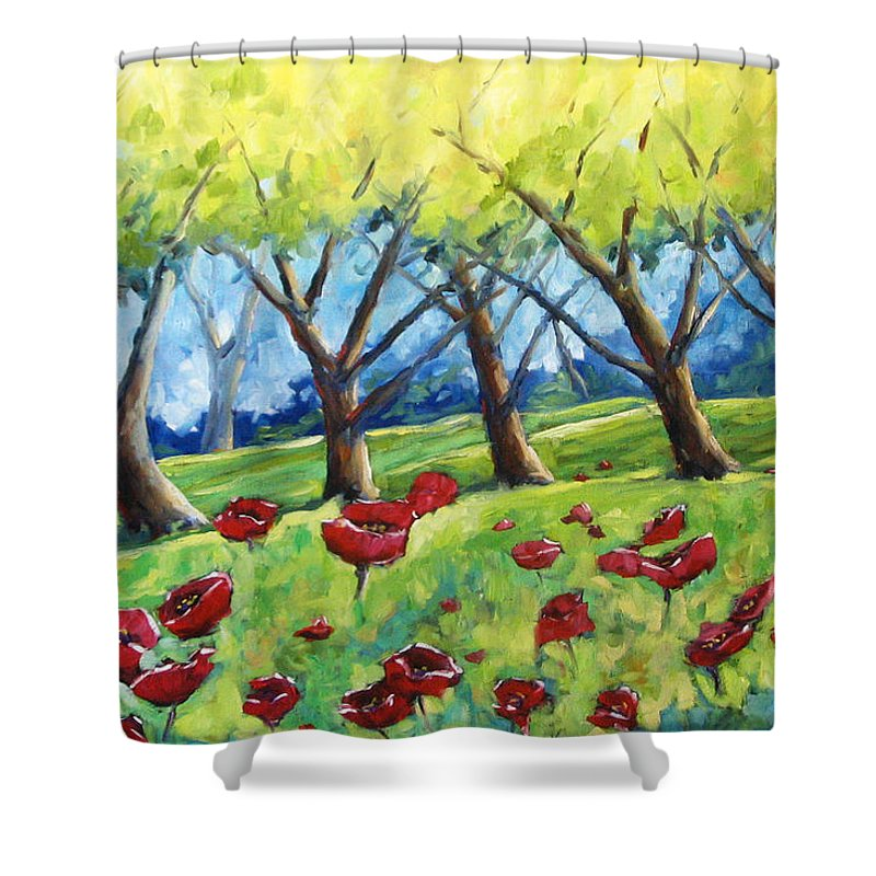 Landscape Shower Curtain featuring the painting Through The Meadows by Richard T Pranke