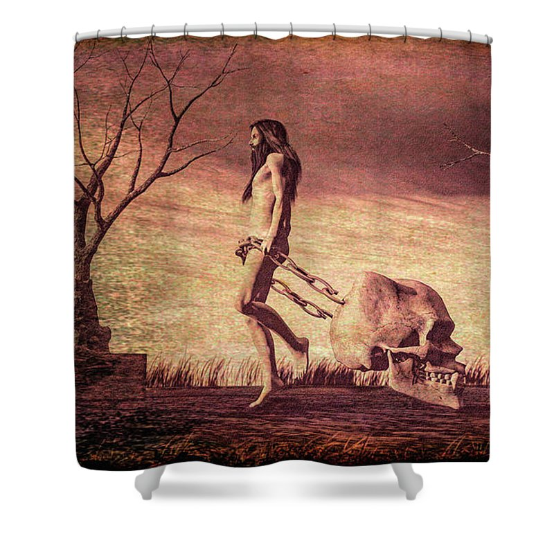 Jesus Shower Curtain featuring the digital art Through The Valley by Bob Orsillo