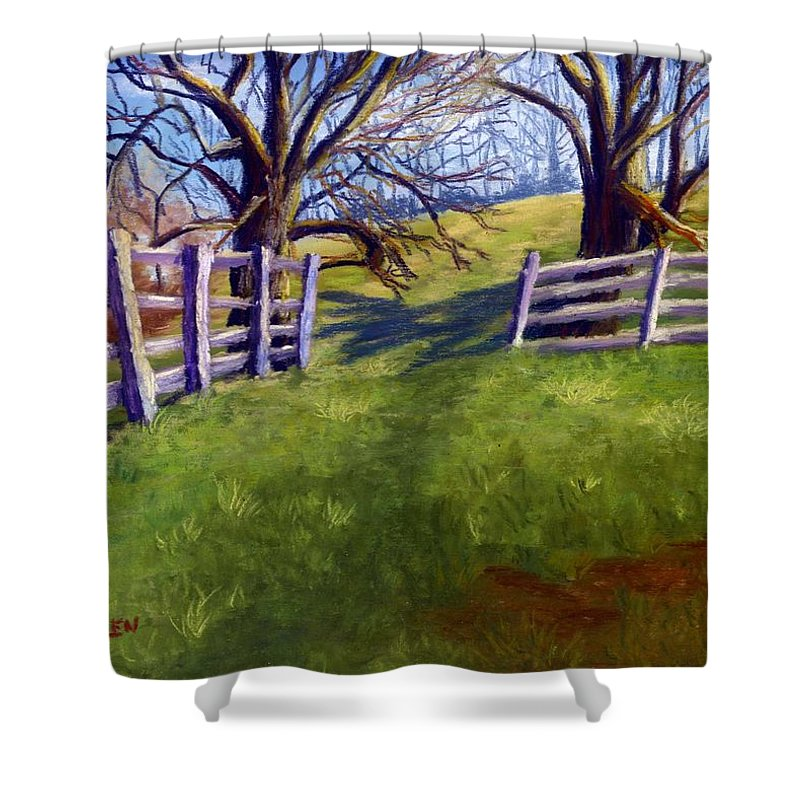 Pasture Shower Curtain featuring the painting Throught The Pasture Gate by Sharon E Allen