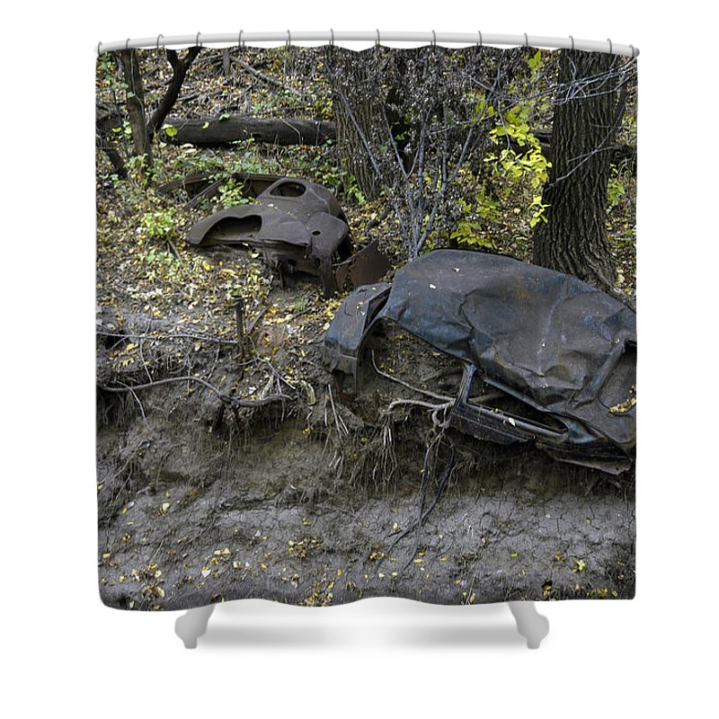 Wrecks Shower Curtain featuring the photograph Throw Away - Cars by D'Arcy Evans