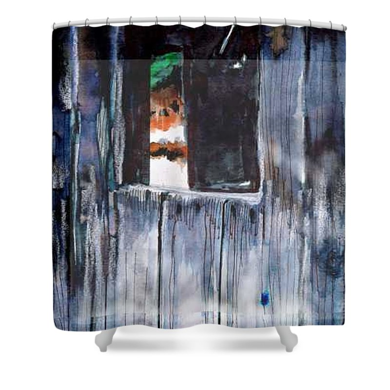 An Old Mysterious Barn With Deep Dark Shadows And Secrets. Rustic And Moody. Shower Curtain featuring the drawing Thru the Barn Window by Seth Weaver