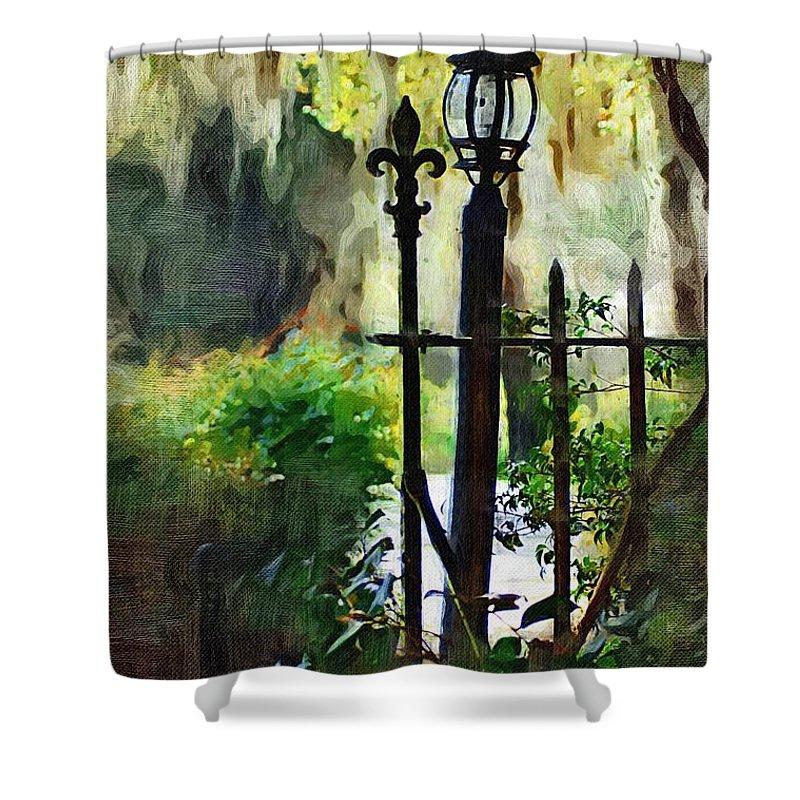 Gate Shower Curtain featuring the digital art Thru The Gate by Donna Bentley
