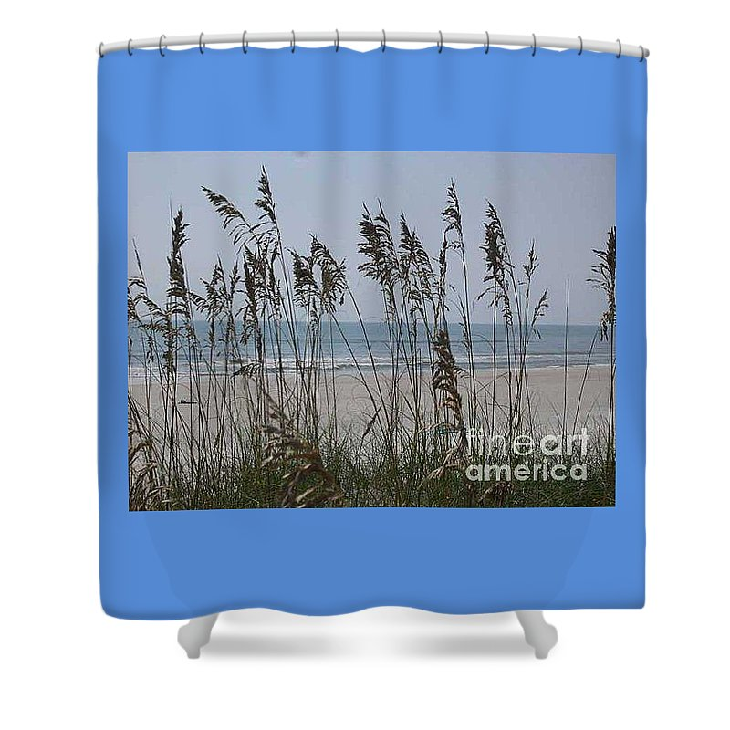 Florida Beach Near St. Augustine Shower Curtain featuring the photograph Thru The Sea Oats by Barb Montanye Meseroll