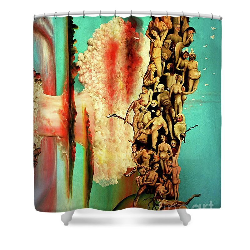Tree Of Life Shower Curtain featuring the painting Thule by Ilona Van Hoek