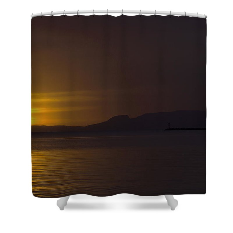 Sleeping Giant Silhouette Sunrise Light House Main Summer Waterfront Thunder Bay Ontario Canada Water Sun Waver Seagull Ducks Orange Red Black White Yellow Sunrays Hope Landscape Photography Clouds Warm Summers Day October 2015 Shower Curtain featuring the photograph Thunder Bay Sunrise by Chris Artist
