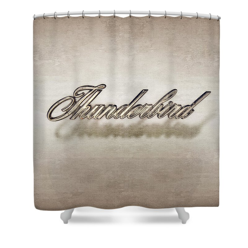 Automotive Shower Curtain featuring the photograph Thunderbird Badge by Yo Pedro