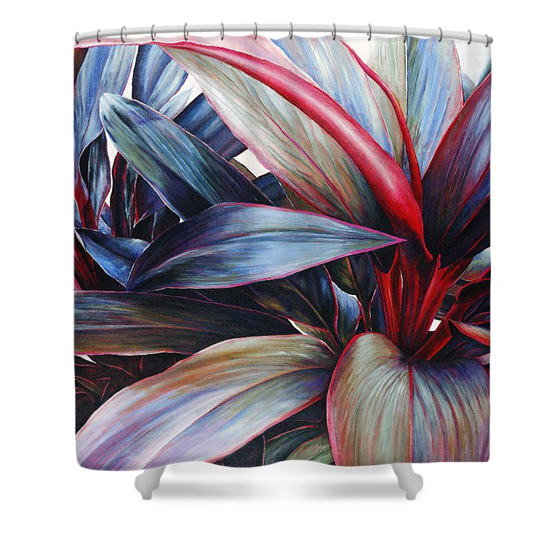 Acrylic Shower Curtain featuring the painting Ti In Blue by Sandra Blazel - Printscapes