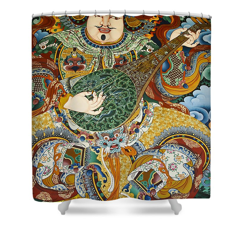 Asia Shower Curtain featuring the photograph Tibetan Buddhist Mural by Michele Burgess